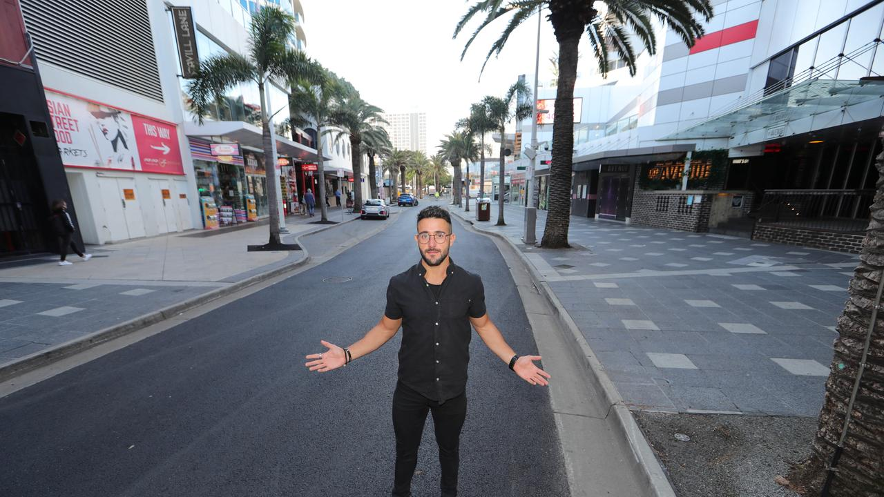 Costa D'Oro manager Gene Fusco in an empty Orchid Ave, hoping the borders will open soon. Picture Glenn Hampson
