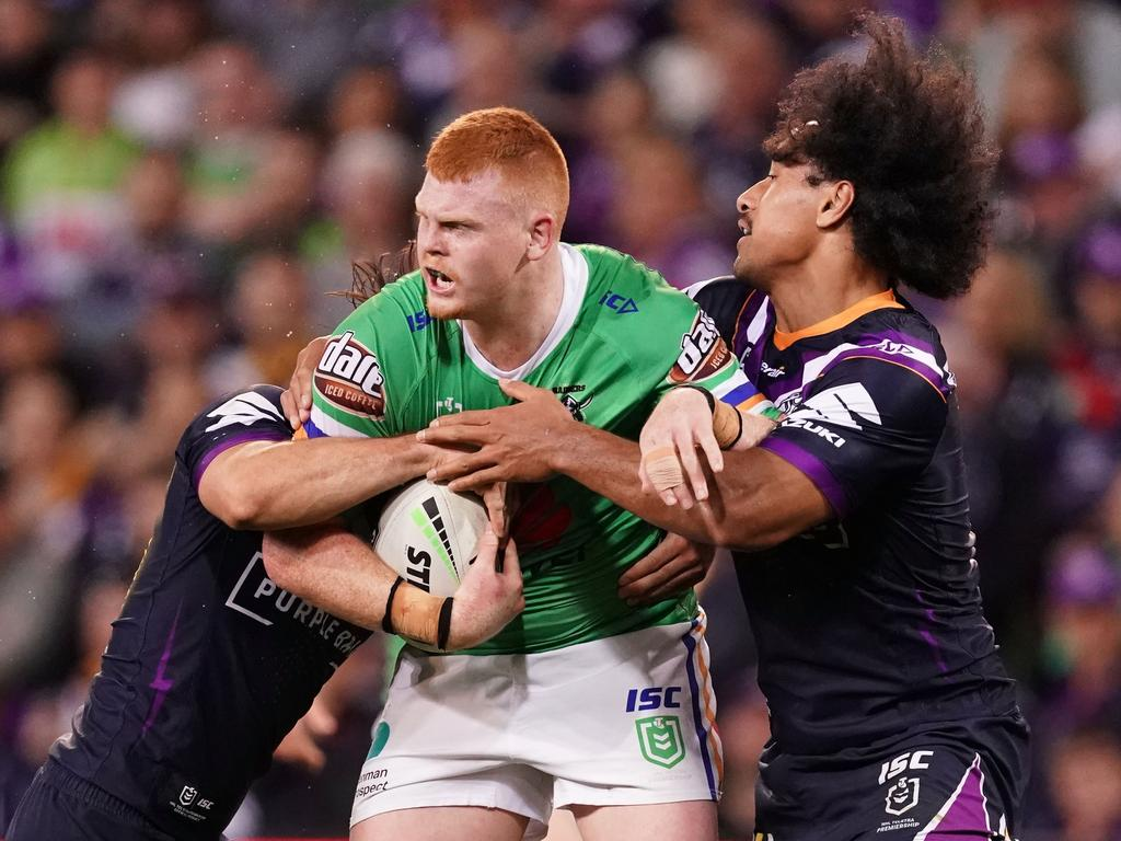 Corey Horsburgh, of the Raiders, is tackled during the NRL Second Qualifying Final match between the Melbourne Storm and the Canberra Raiders at AAMI Park in Melbourne, on Saturday, September 14, 2019. Photo: Scott Barbour