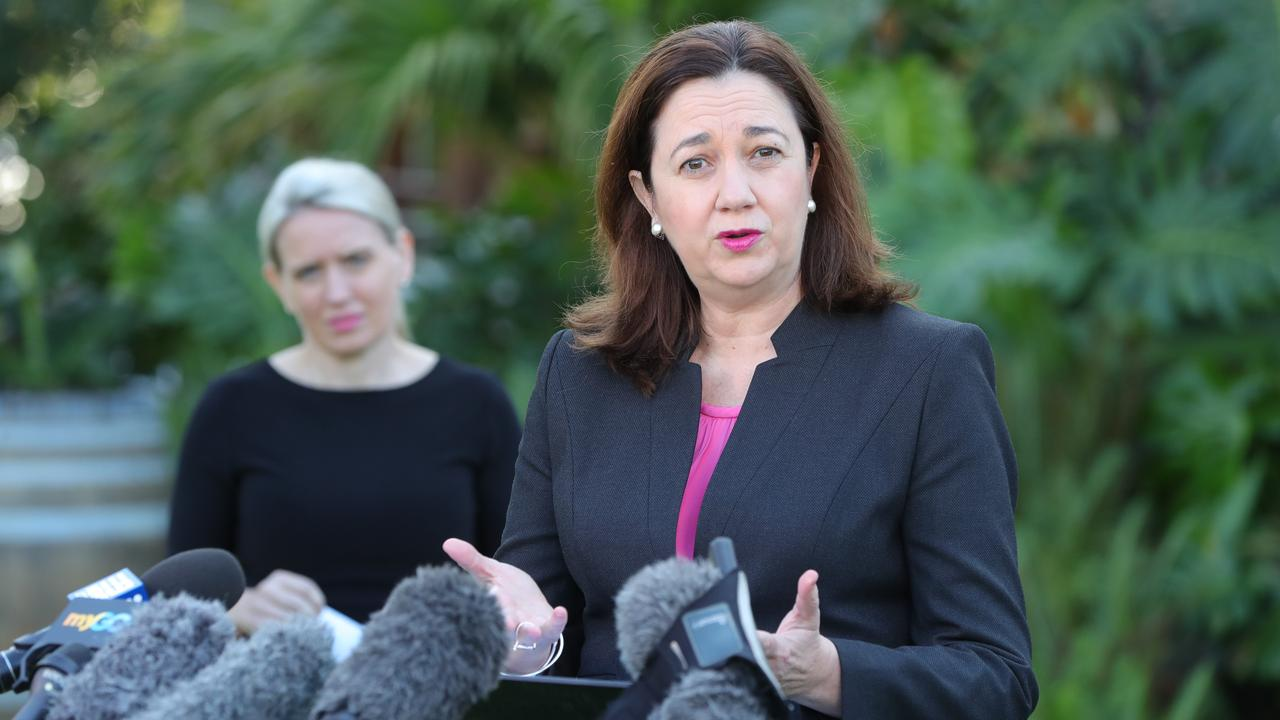 Queensland Premier Annastacia Palaszczuk speaks to the media at Star Casino on the Gold Coast. Picture: Glenn Hampson