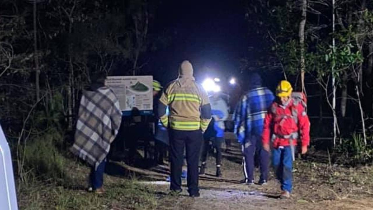 Four young hikers were rescued overnight after becoming stranded on top of Mt Beerwah. Photo: State Emergency Service - Kawana
