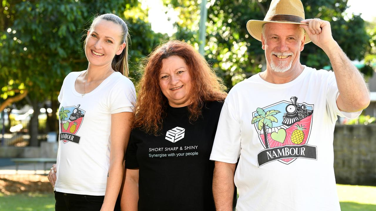 PRIDE: Locals can now wear the Nambour t-shirt to celebrate the town.Noni Lawson, Ali Atkinson and Ian Atkinson show off the shirt. Picture: Warren Lynam