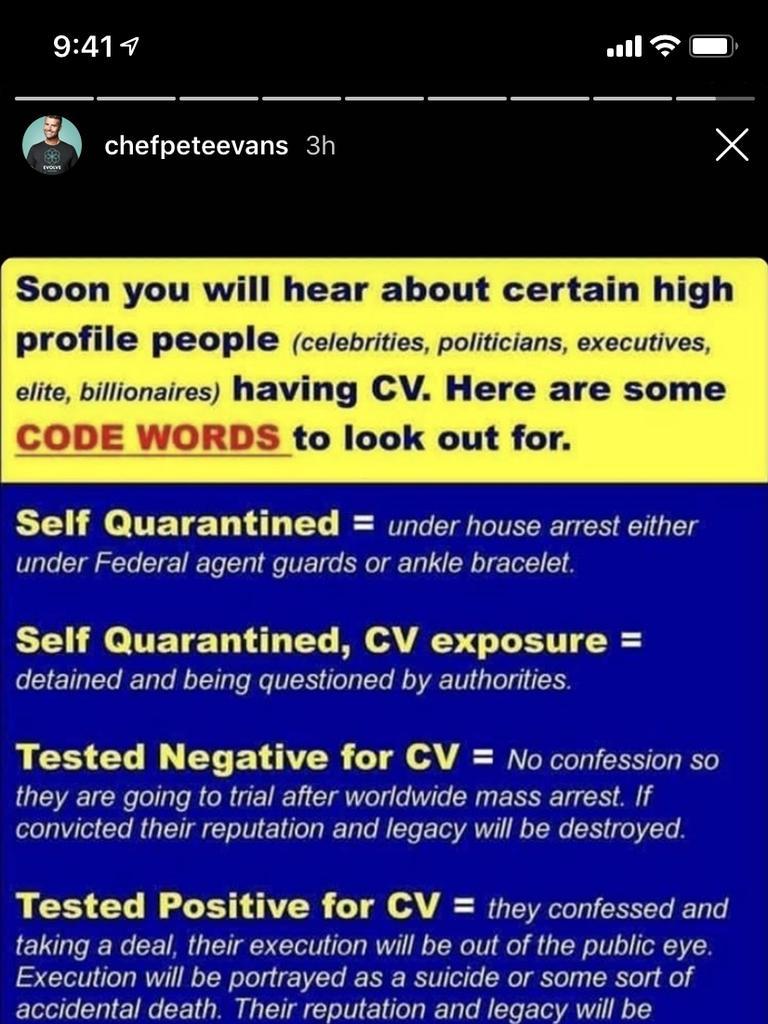 One of Pete Evans' bizarre coronavirus posts on Instagram.