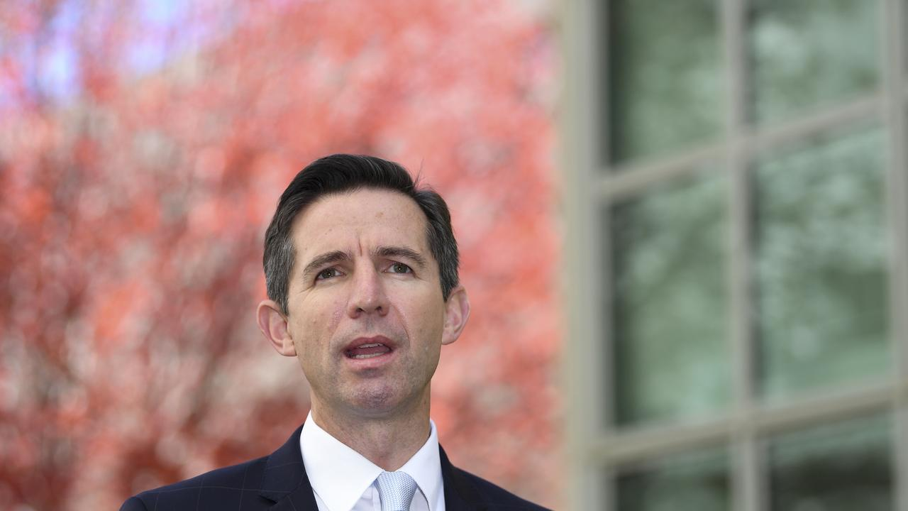 Australian Trade Minister Simon Birmingham says the border closure is hurting tourism. (AAP Image/Lukas Coch)