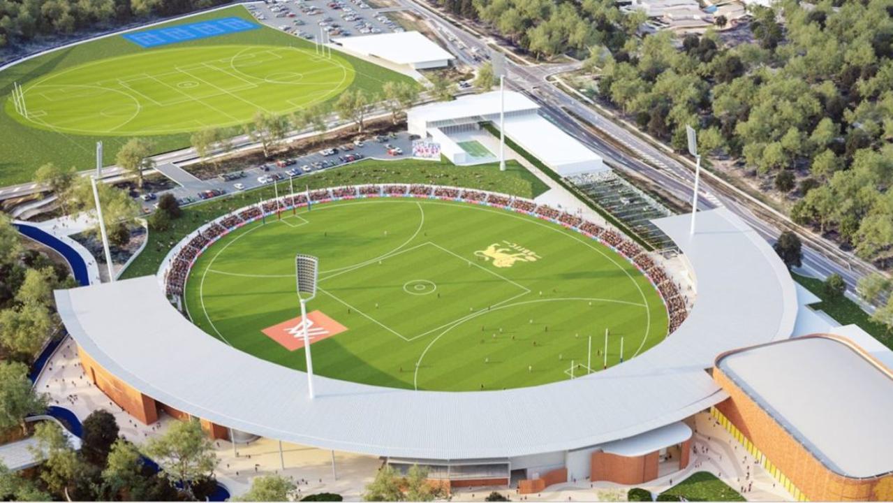 Artist impression of boutique Brisbane Lions stadium at Springfield Central.