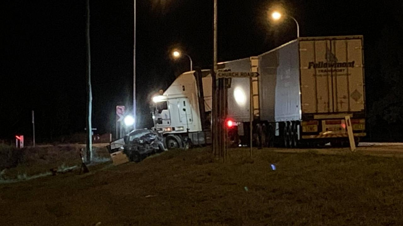 The scene of a fatal traffic crash between a truck and car at Black River on Thursday night. PICTURE: Craig Warhurst