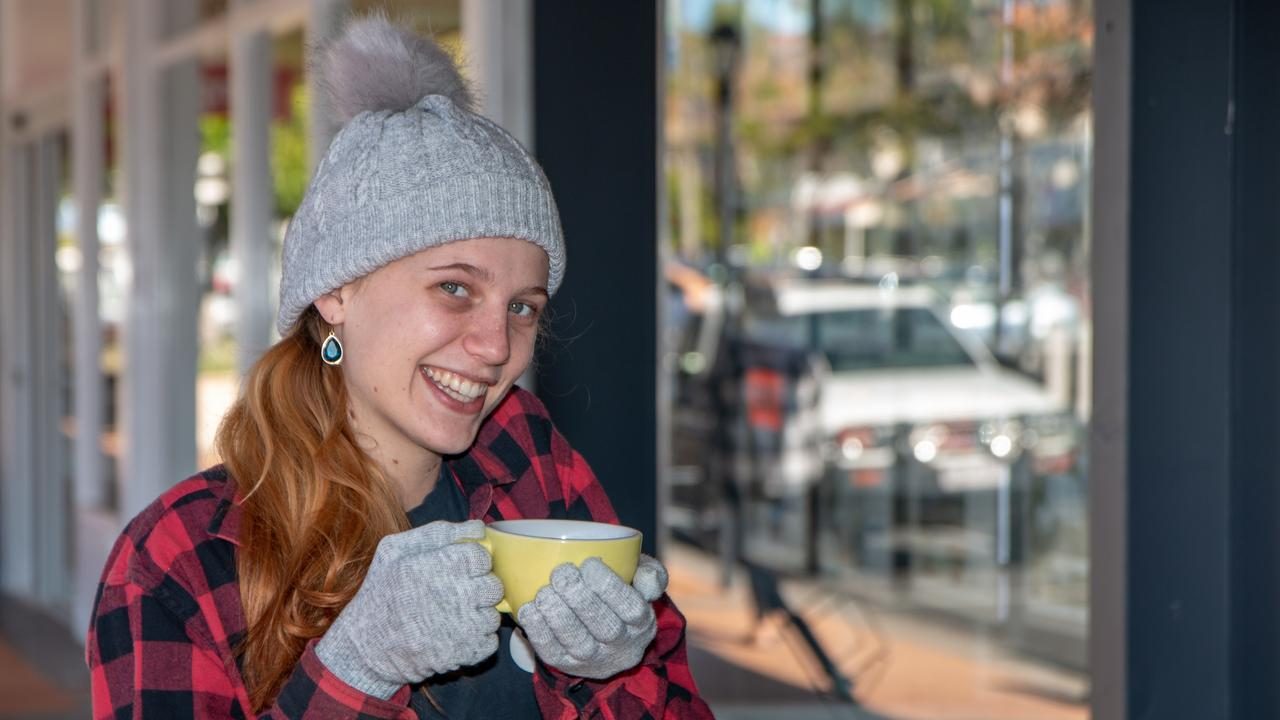 CHILLY: Gatton barista Johanna Setch rugs up against the cold mornings. Picture: Dominic Elsome