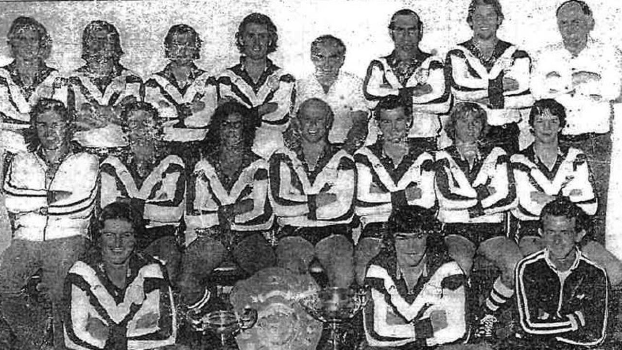 CHAMPION TEAM: Grafton Ghosts First Grade 1977 premiers, from back left: P Sutton, J Payne, P Moran, G Grantham, B Nattrass (president), G Want, T Dickson, B Woolfe (treasurer). Middle: J Kinnane (secretary), R Goodger, R Phillips, D Moritz (captain-coach), K Landrigan, P Landrigan, M Galloway. Front: D Winters, B Michael, K Godwin (trainer).