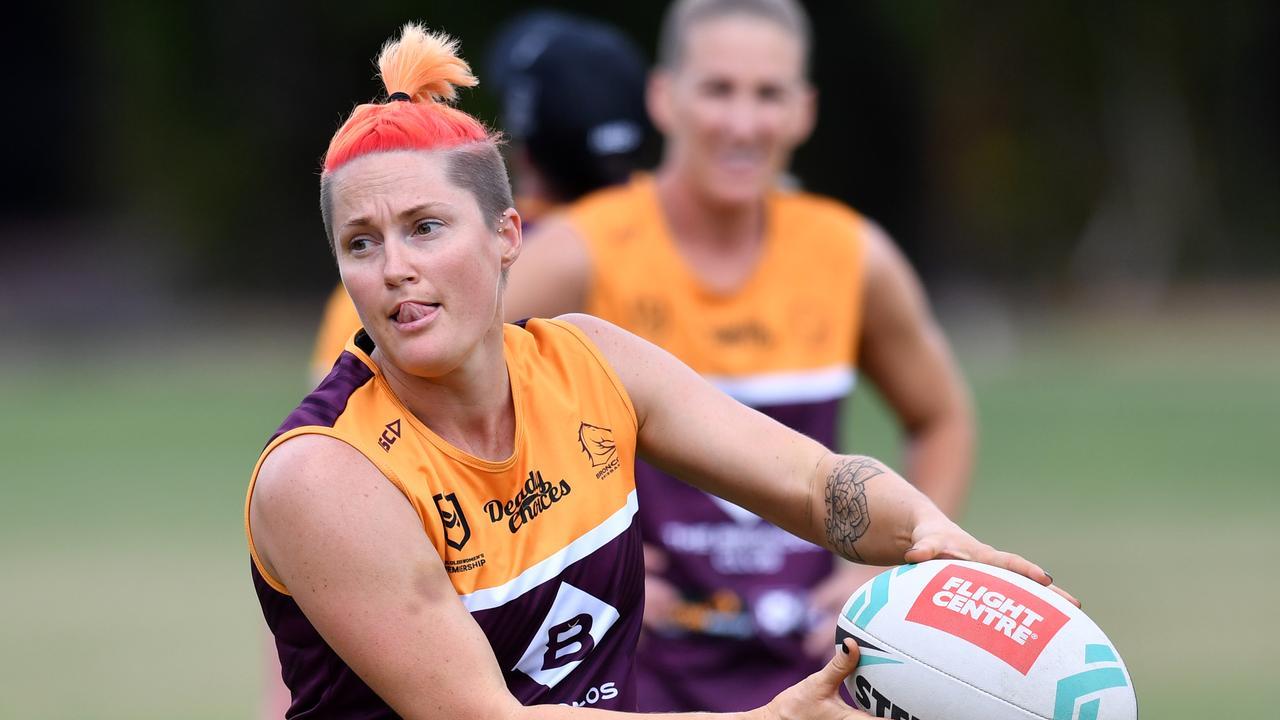 Chelsea Baker in action during Brisbane Broncos training at Red Hill in Brisbane, Friday, September 20, 2019. PICTURE: Darren England.