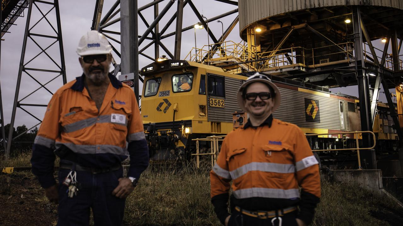 Millennium Mine employees Mick Bugeja and Nathan Curran saw the final shipment of coal loaded. Picture: K Rossow