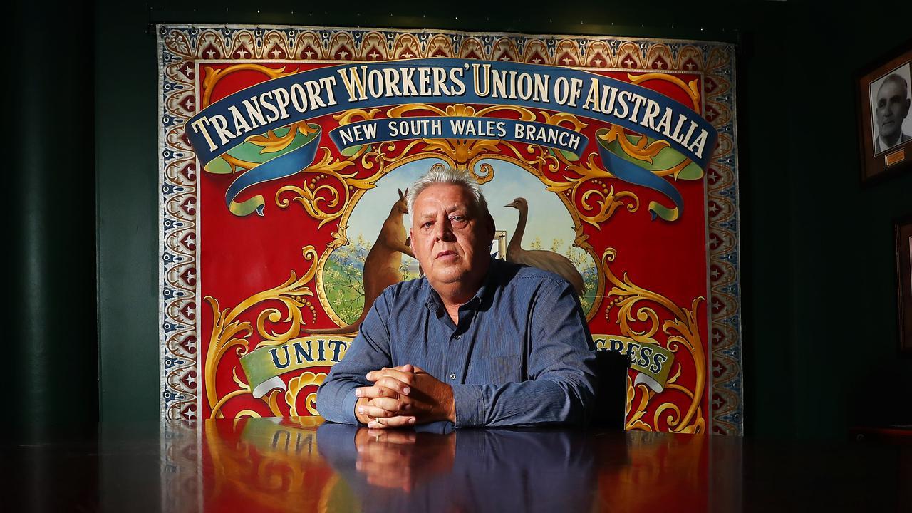 WAGE BOOST OVERDUE: NSW state secretary of the TWU, Richard Olsen at the TWU Parramatta offices in western Sydney. John Feder/The Australian.