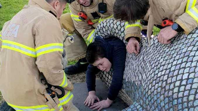 Fish sculpture hooks boy in bizarre playground accident