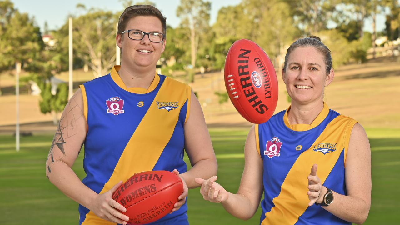 Ipswich Eagles vice-captain Stephanie Cockerill-Wright (left) and captain Rebecca McCarthy are keen to get the delayed footy season underway in July. Picture: Cordell Richardson