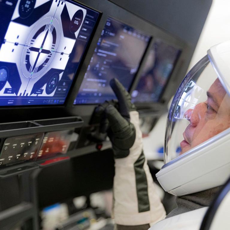 NASA astronaut Robert Behnken during a training exercise inside the Crew Dragon capsule. Picture: Ashish Sharma / SpaceX / AP