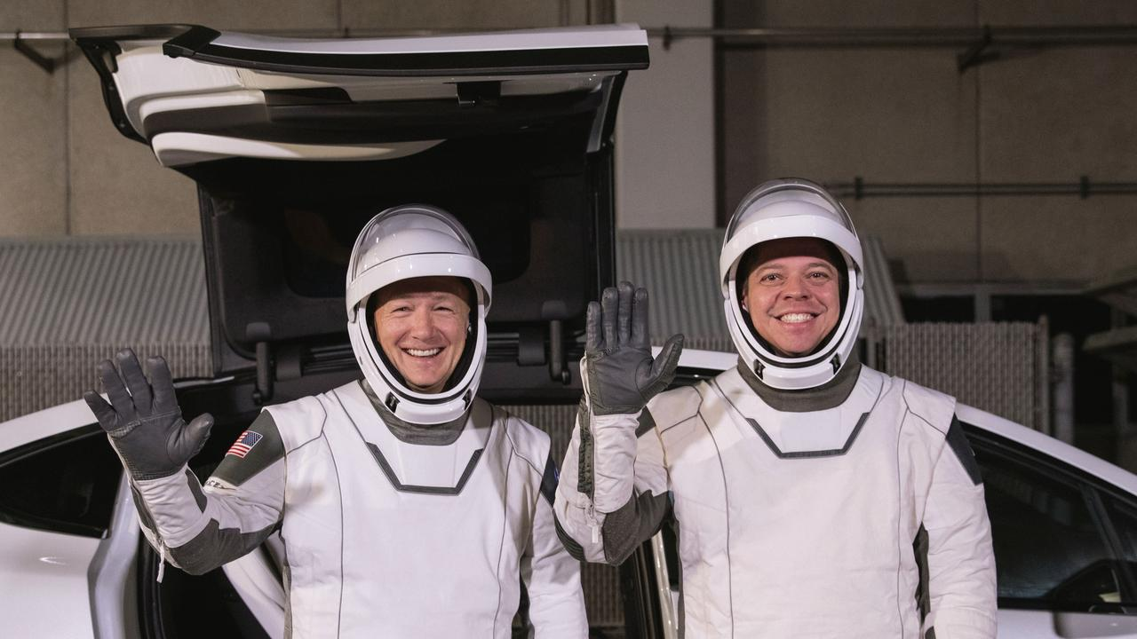 NASA astronauts Douglas Hurley (L) and Robert Behnken (R) pictured in January this year. The pair will be the first people sent into space by a private company. Picture: Kim Shiflett / NASA