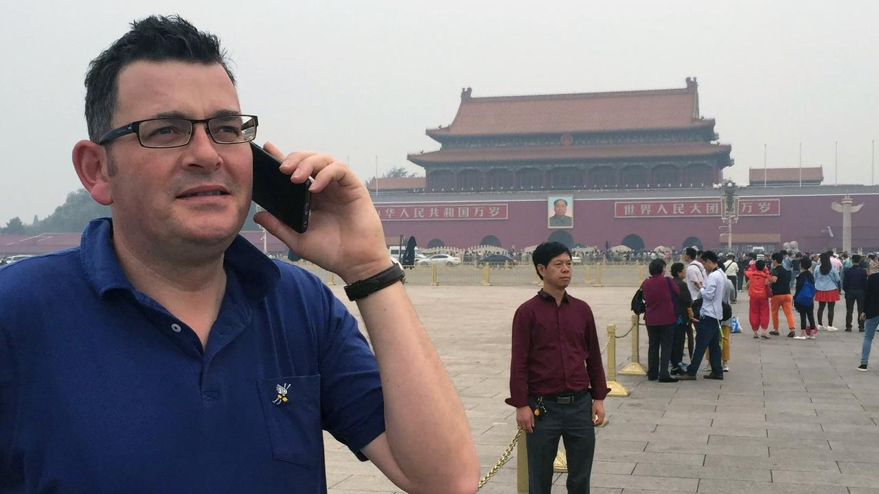 Victorian Premier Daniel Andrews at Tiananmen Square in Beijing.