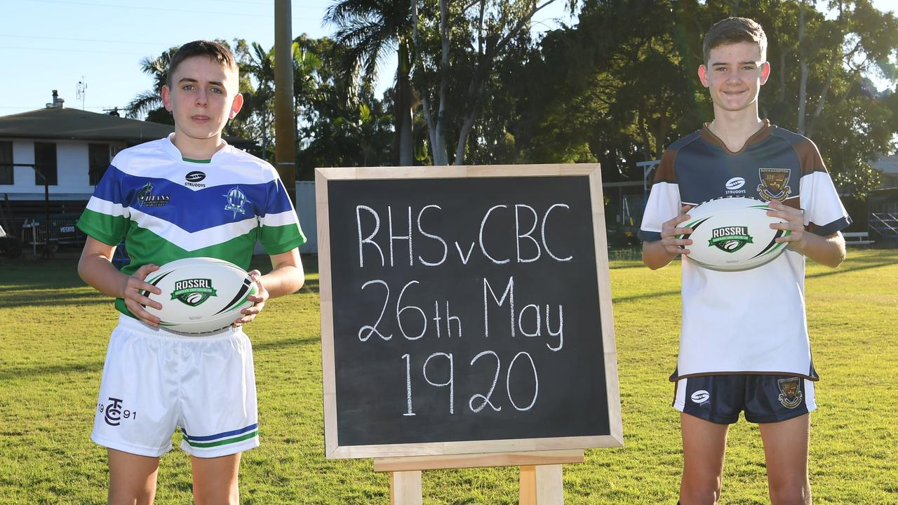HISTORIC DAY: The Cathedral College's Patrick Dever and Rockhampton High's Toby Milner mark the start of the Rockhampton secondary schools rugby league competition 100 years ago.  Picture: Allan Reinikka
