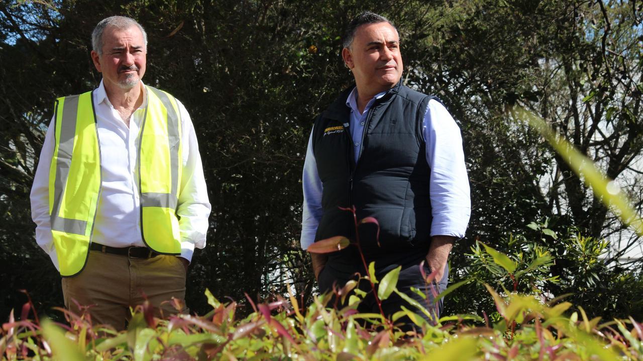 Deputy Premier John Barilaro and Clarence MP Chris Gulaptis with at the Trenayr nursery.
