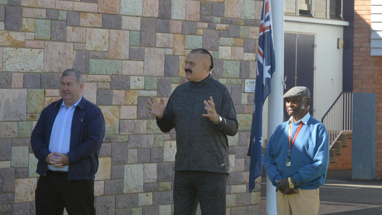 Mayor Jack Dempsey, Dr Kerry Blackman and Uncle Andy Warria at the flag raising ceremony in Buss Park.