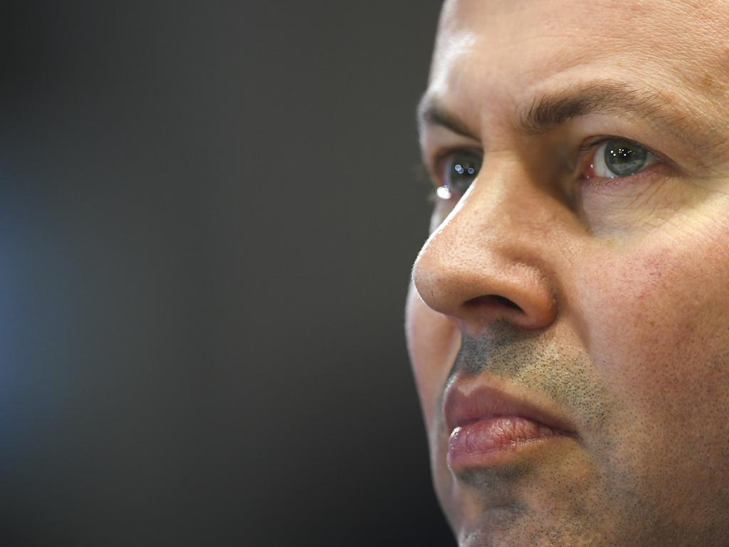 Australian Treasurer Josh Frydenberg listens to Australian Prime Minister Scott Morrison address the National Press Club in Canberra. Picture: AAP Image/Lukas Coch