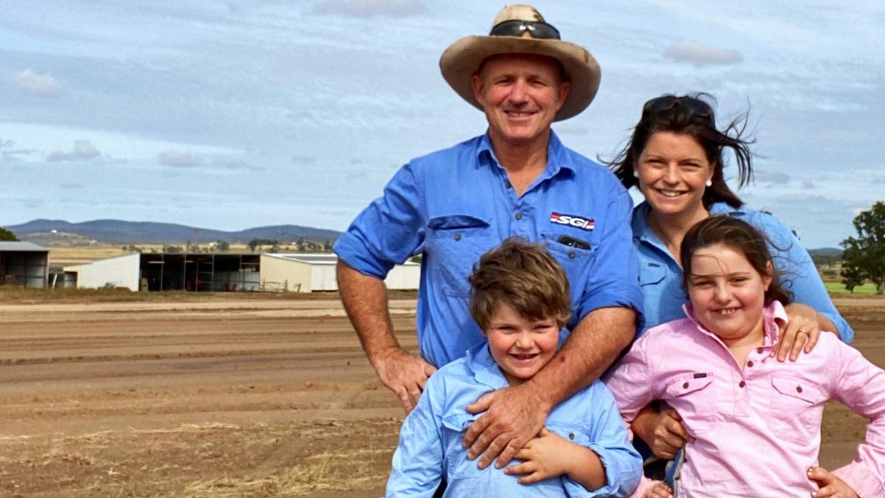 Stephen Schmidt with wife Claire, and children Amelie and Toby Schmidt on their Allora property Victoria Hill.