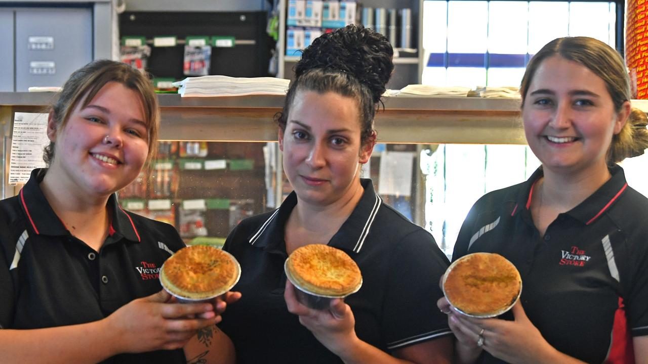 Tanayah Sutton, Carleah Clark and Cassie Ryman with some of the mouth watering Pies for sale at the Victory Store