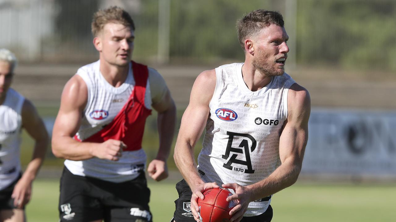 Brad Ebert in possession at Power training. Picture: Sarah Reed.