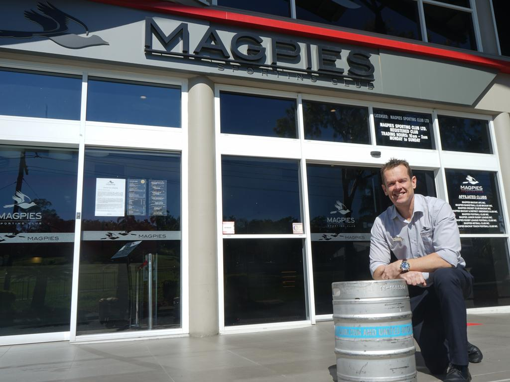Magpies Sporting Club general manager Darren Smith with one of the kegs provided by Carlton & United Breweries as part of the 'For the love of your local' campaign.