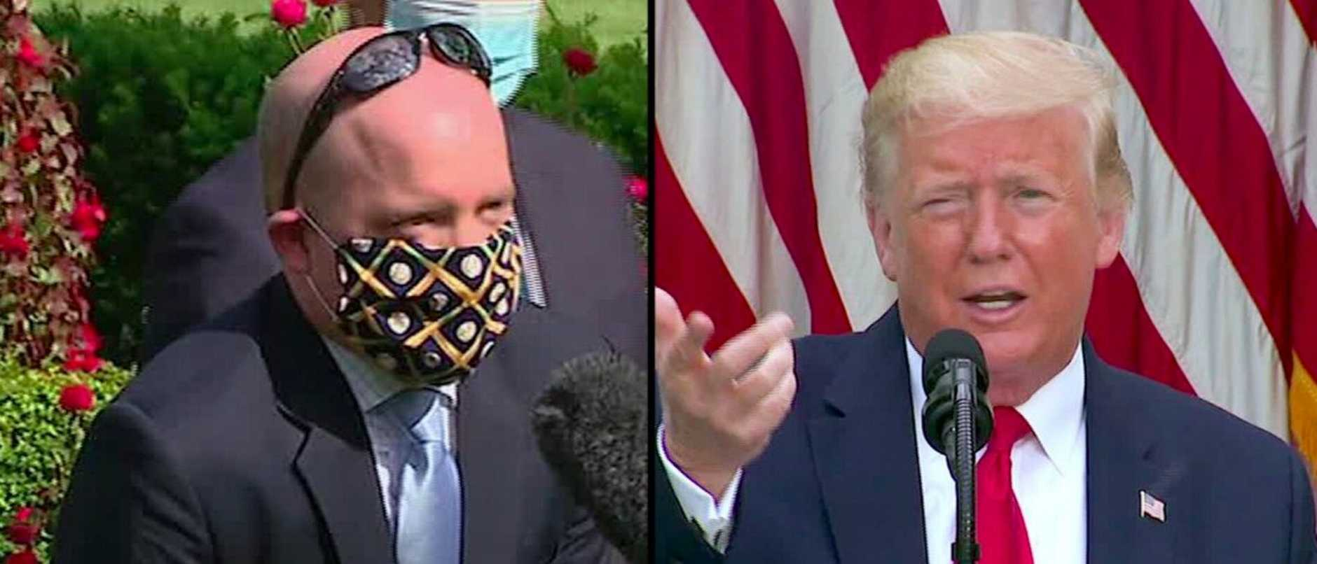 Donald Trump has mocked a reporter who declined to remove his mask before asking the President a question.