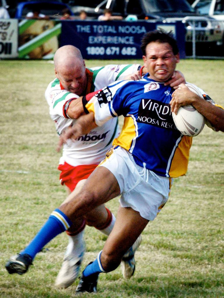 Pirate's Noel Haslam fights free from a Nambour tackle. Picture: ANDREW SEYMOUR