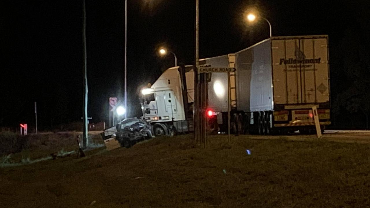 The scene of a fatal traffic crash between a truck and car at Black River on Tuesday night. PICTURE: Craig Warhurst