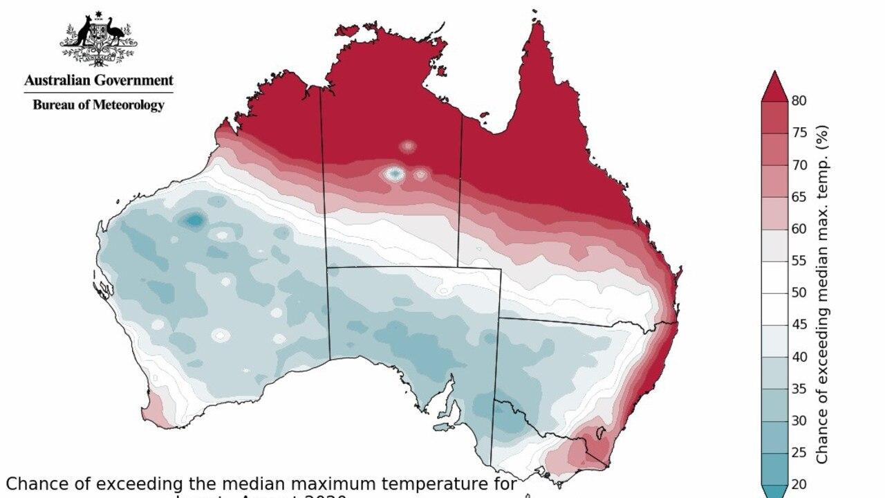Maximum temperature outlook for winter 2020.