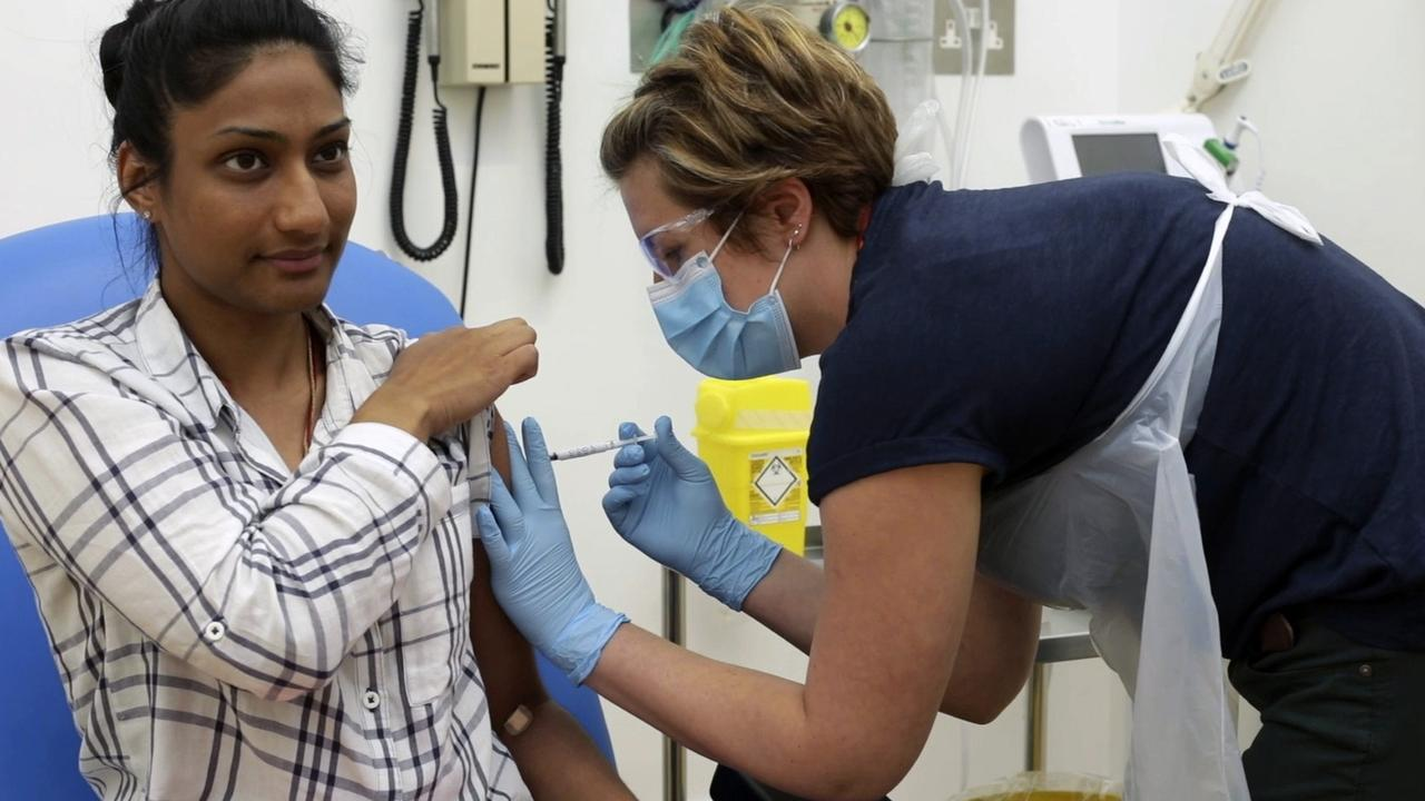 Britain's Oxford University vaccine injected into a volunteer. Picture: University of Oxford via AP