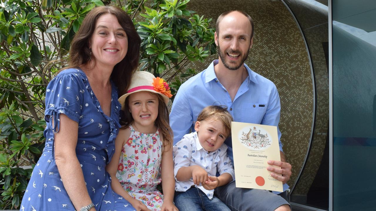 SPECIAL DAY: Amy Fitzhenry with kids Isla and Callum Kelly congratulating her partner Colin Kelly on his citizenship ceremony in Ballina back in 2017.
