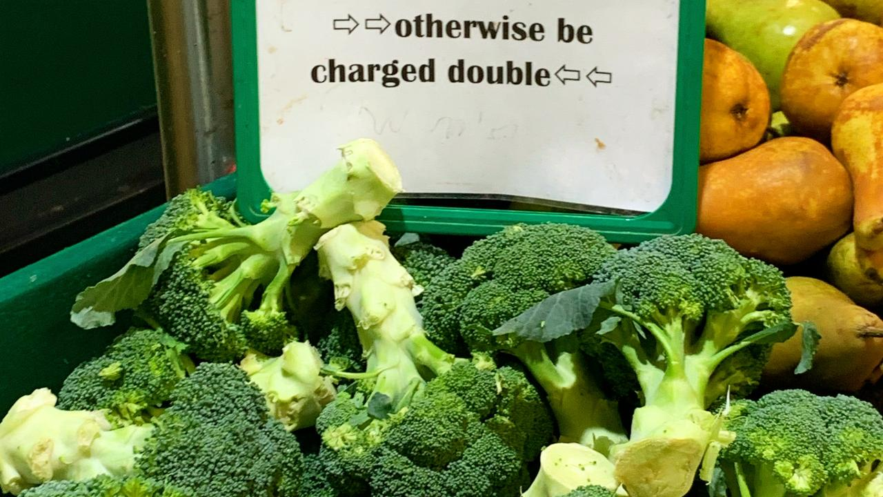 A stern broccoli warning at green grocer in Sydney's inner west this week. Picture: Benedict Brook