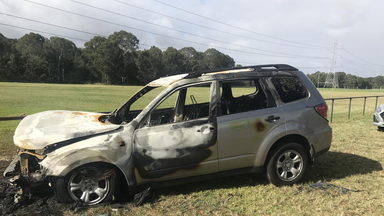 The car linked to the murder of a man in Riverstone burnt out at Boronia Park in North St Marys days after the violent home invasion. Picture: NSW Police
