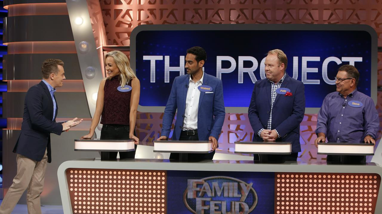 Celebrity Family Feud with The Project team.