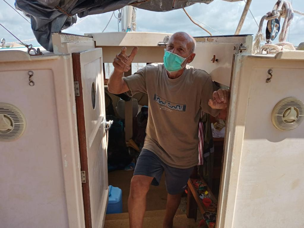 Australian Tadeusz Nowicki on his yacht after being rescued. Picture: Supplied