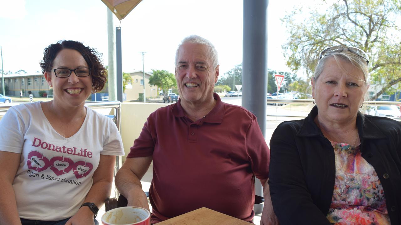 SAVE A LIFE: Karen Jenner with grateful heart transplant recipients and Bundy locals, Jeffrey Kirkman and Bev Cooke. Picture: Rhylea Millar.