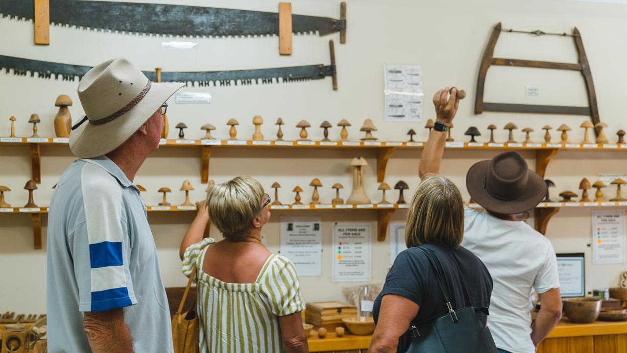 Sunrise Caravanners at the Timber Museum. Director Steve Andonovski said the group of 50 caravans stayed at the Nanango Showgrounds and spent $19,350 in the community on site fees, groceries, visiting local attractions, eating out, and buying souvenirs. (Photo: Sunrise Caravans Owners Group)