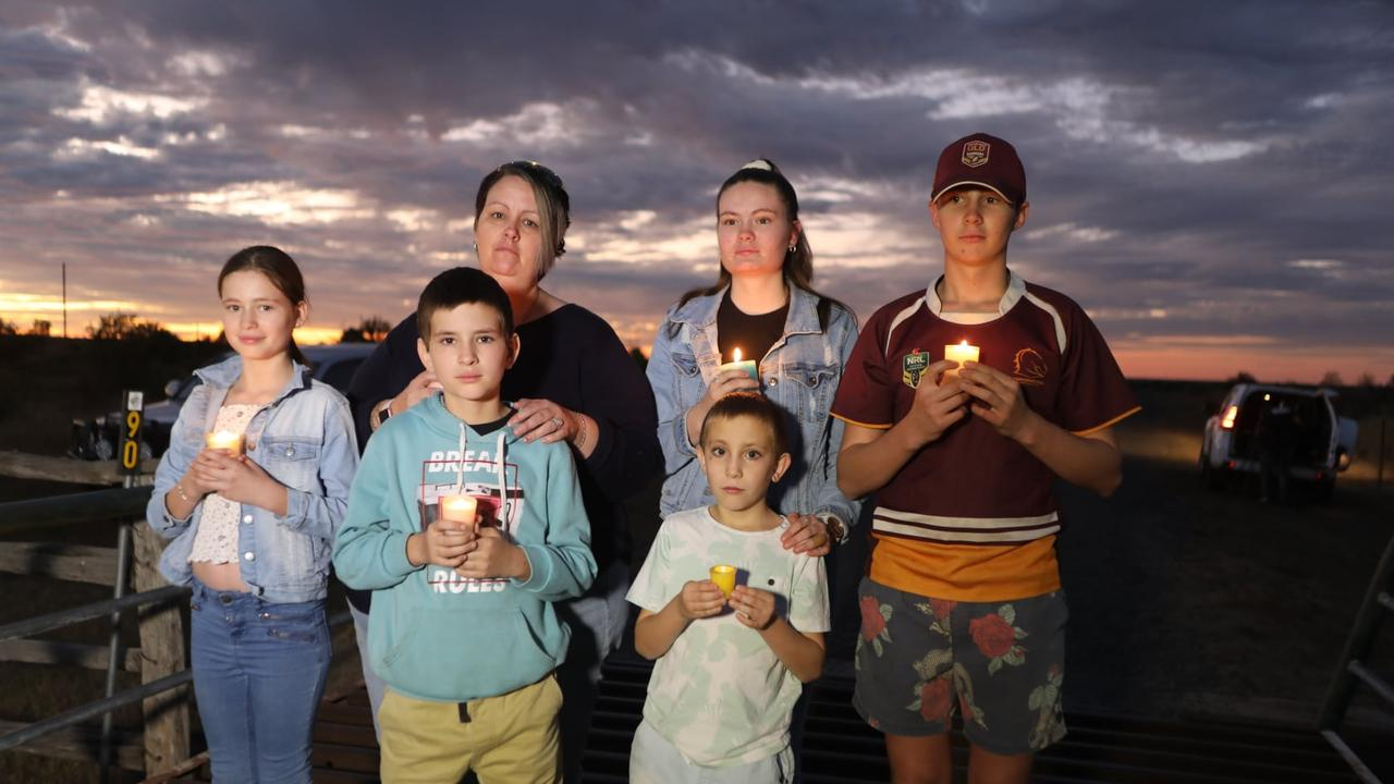 Brook Boase, 13, Anthony Boase, 10, Annette Boase, Jet Boase 7, Kayla Boase and Credence Boase, 15, pay tribute to Nathan Turner. Picture: Steve Vit