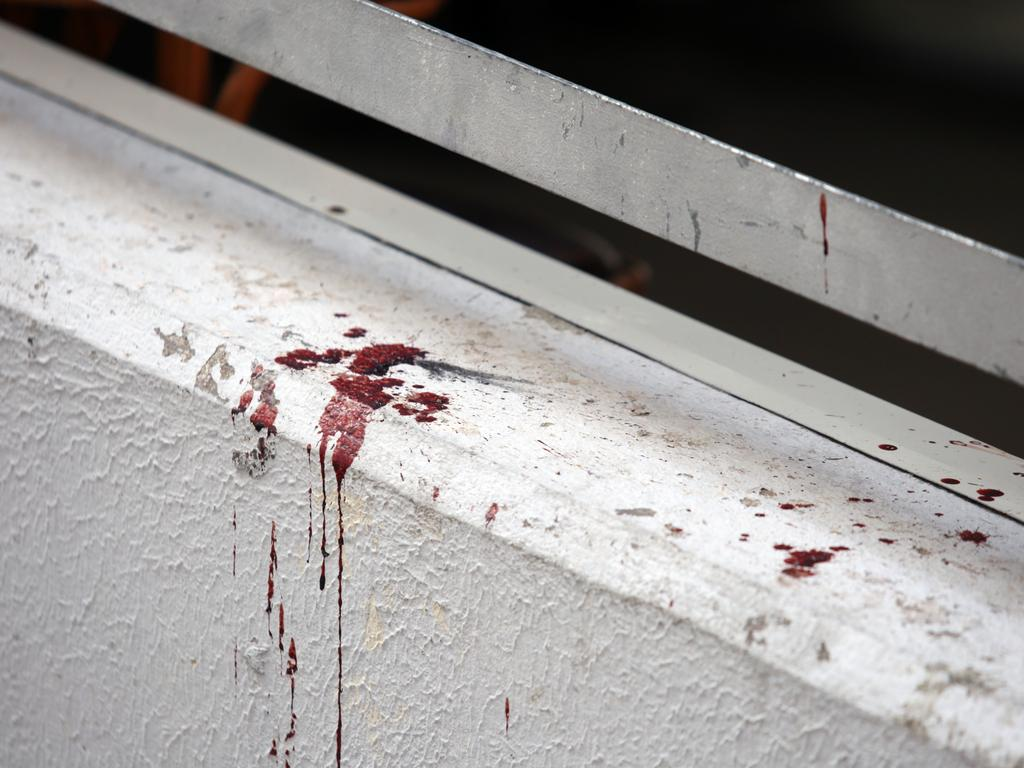Blood spatters near the Tropic Nightclub in Split, Croatia, after the attack where Australian Dayne Corbishley was injured.