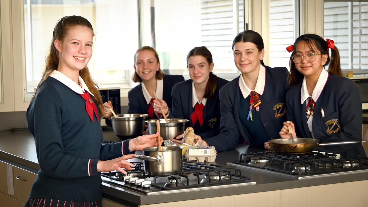 St Saviour's College students cook meals for homeless. From left: Abbey Kelderman, Eliza Morcom, Keeley Crothers, Abi Reiter, Zina Dorado, . Photo Bev Lacey