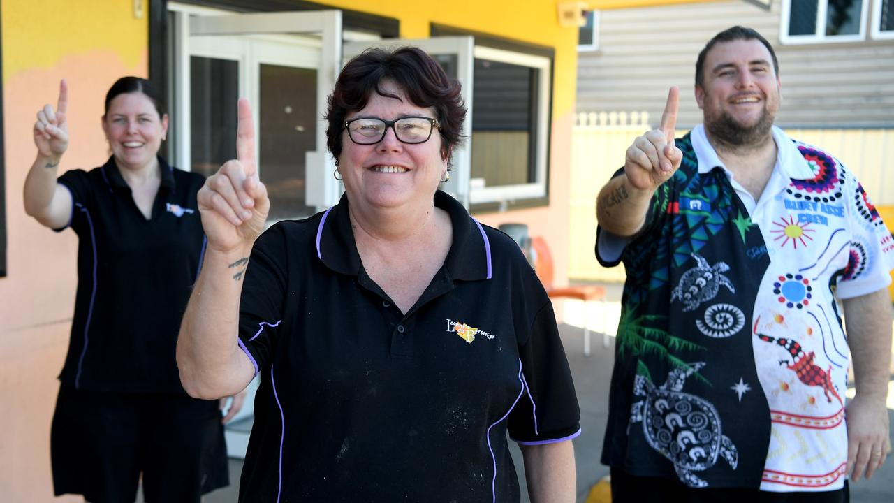 Mellissa, Leanne and John Russell's burgers were voted number one in Central Queensland. Picture Jann Houley.