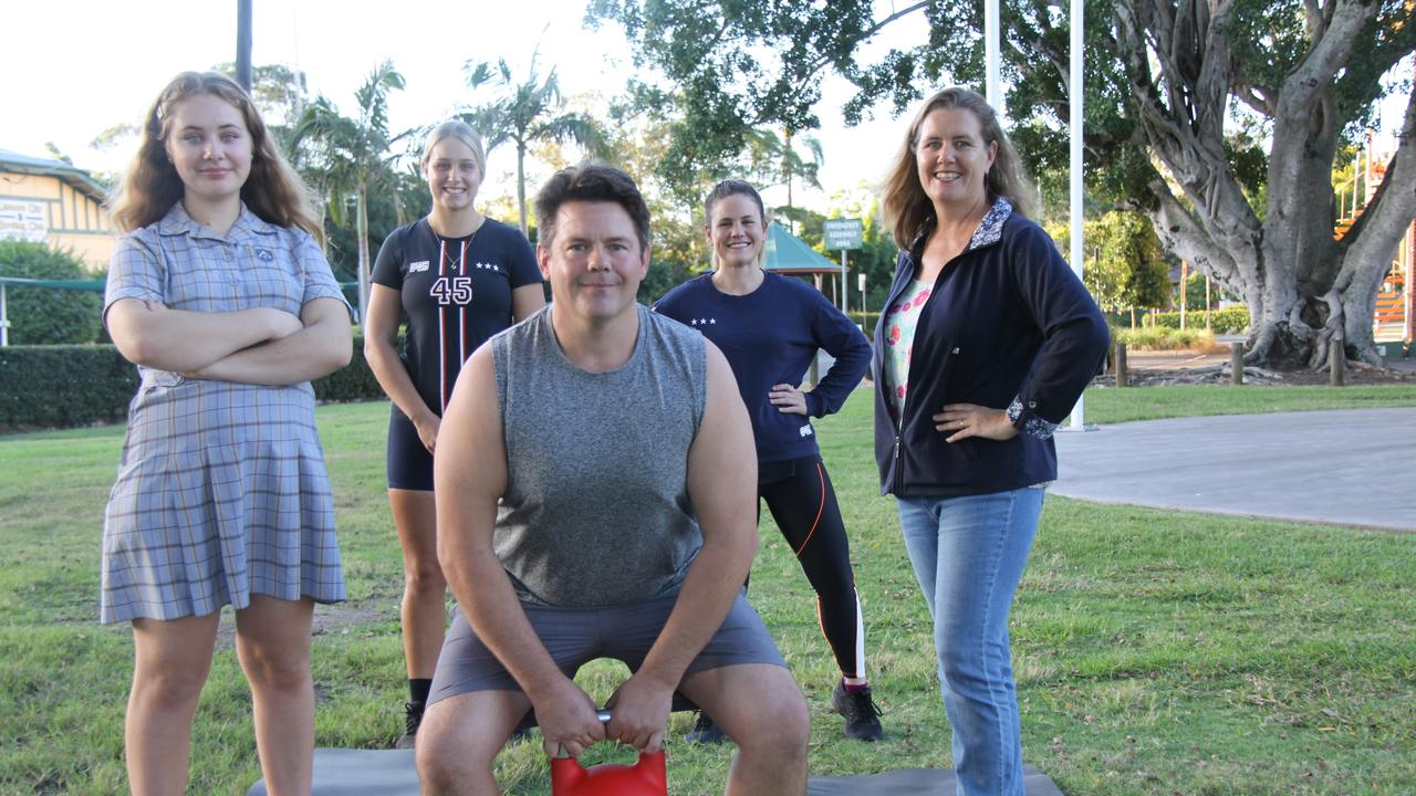 FITNESS COMMUNITY: F45 Lismore members (L-R) Jessica Kirkland, Greg Martin and Maree Kirkland have been keeping physically and mentally fit via online classes and support from coaches Amy Keen and Maggie Riley. Photo: Alison Paterson