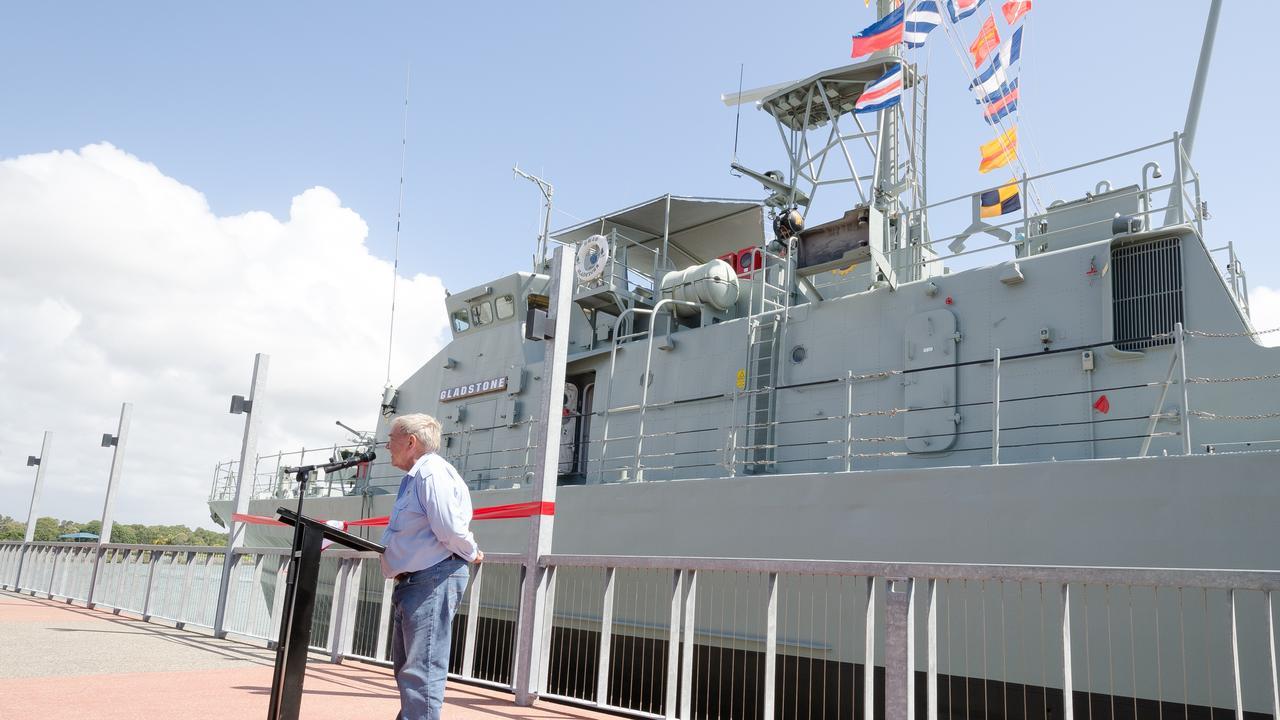Gladstone Maritime History Society President Lindsay Wassell outside the HMAS Gladstone II.