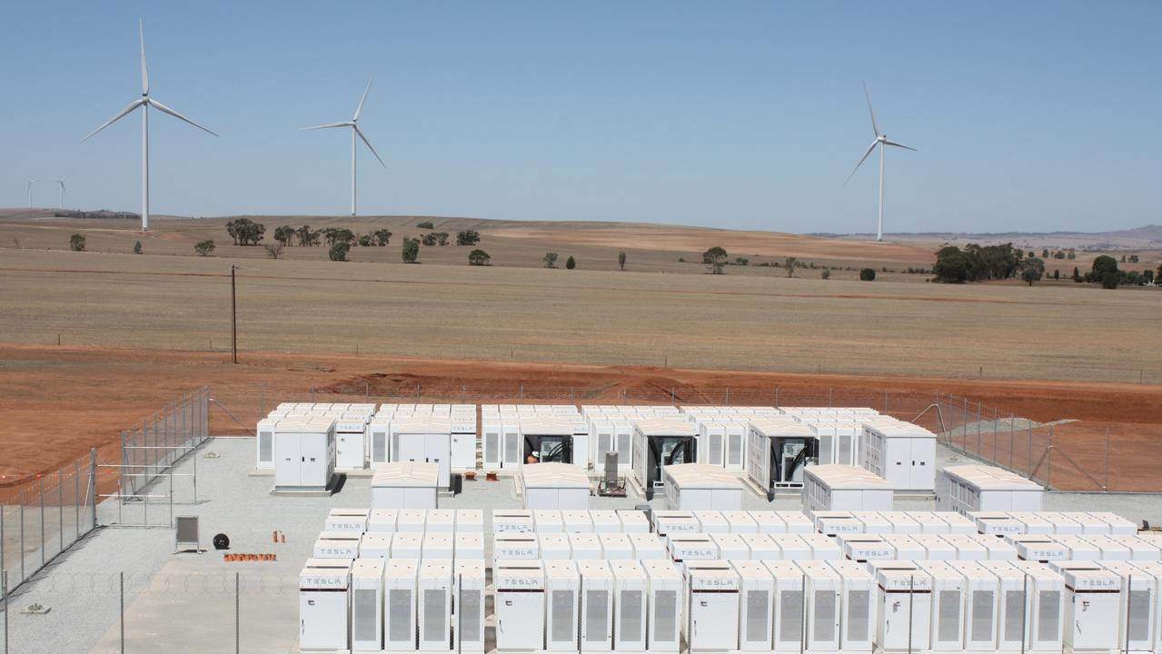 The Hornsdale Power Reserve in Jamestown, South Australia uses Tesla batteries to store electricity generated from renewable sources. Picture: Chris Russell