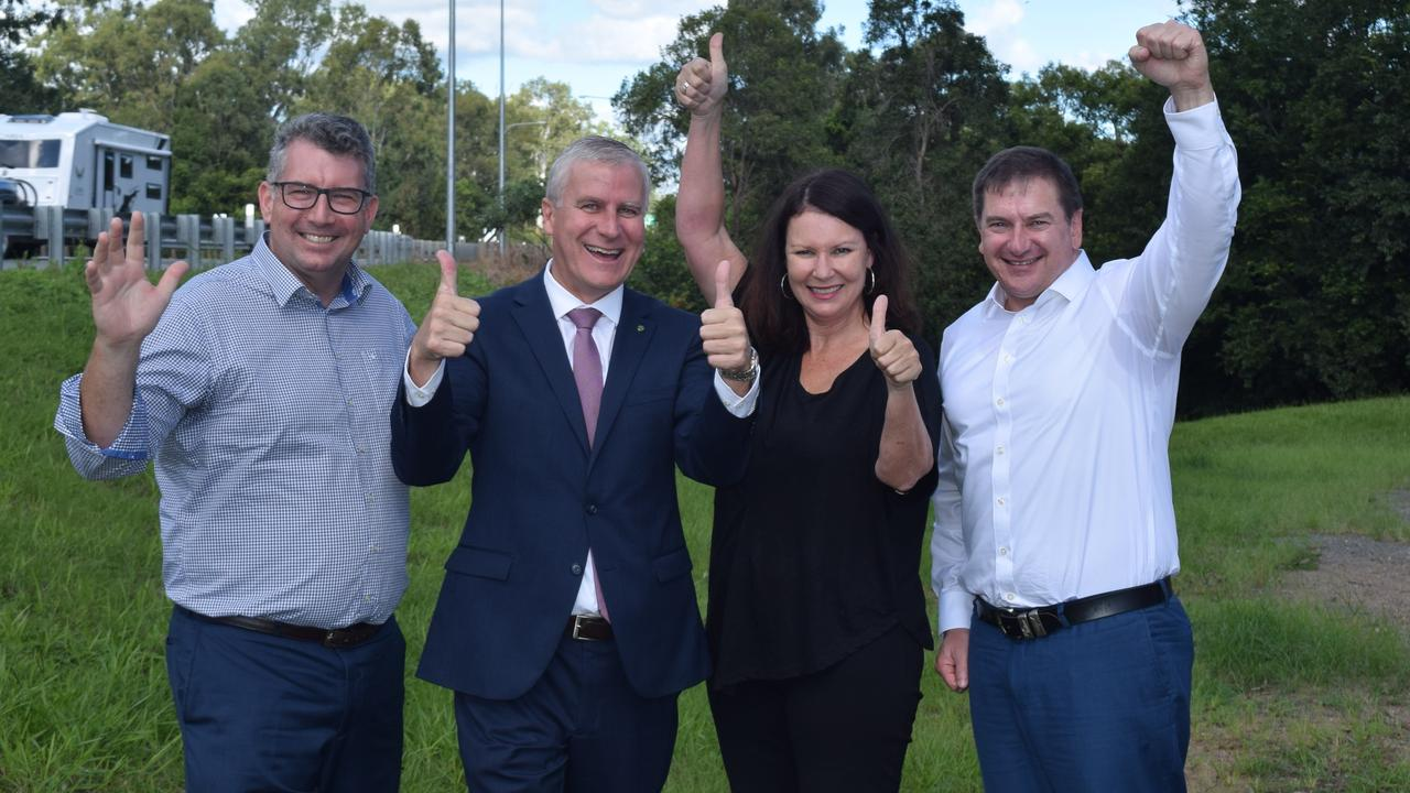 The day it was announced the govt had fast tracked the Gympie Bypass - Keith Pitt, Deputy PM Michael McCormack, Shelley Strachan and Llew O'Brien celebrate the $800 million in federal funding for Section D after years of campaigning.