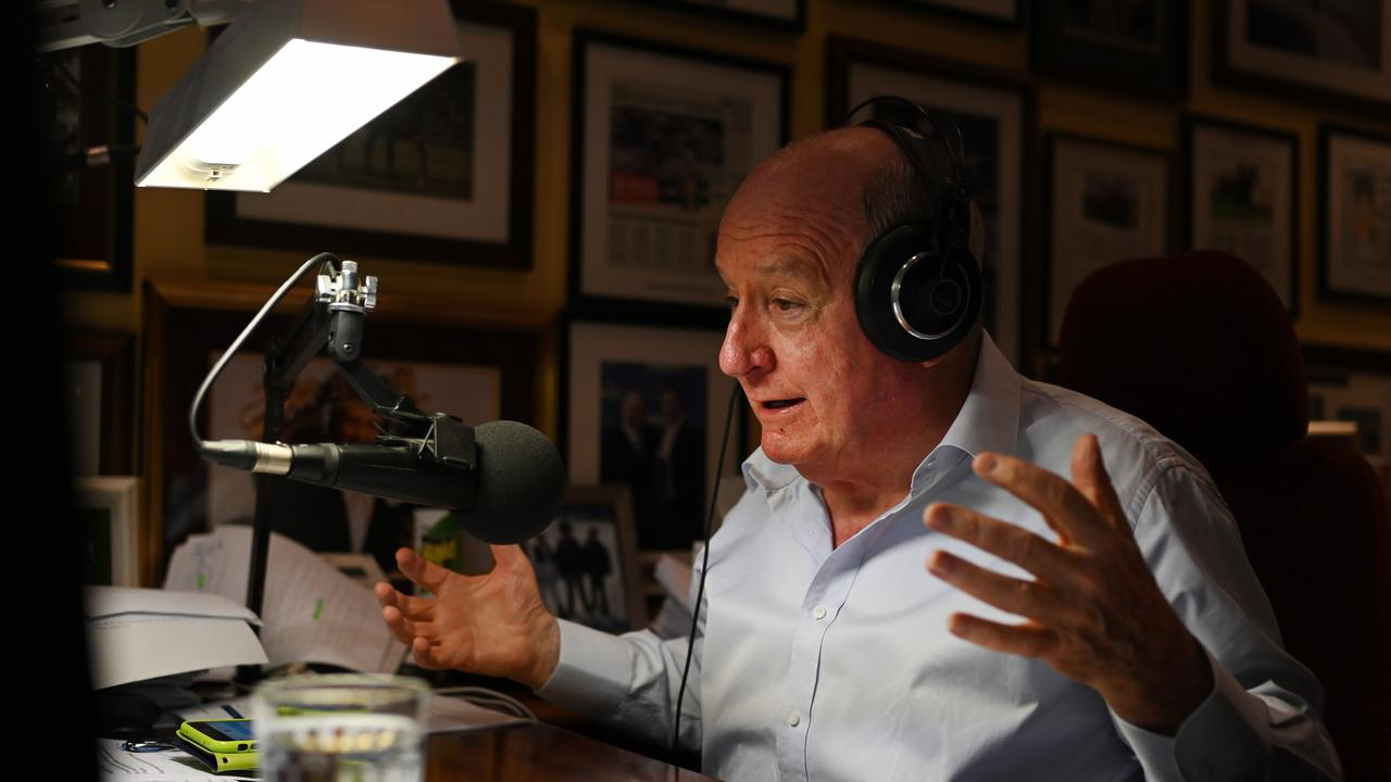 Broadcaster Alan Jones during his final breakfast show for 2GB, which was broadcast from his home at Fitzroy Falls. Picture: Dean Lewins/AAP