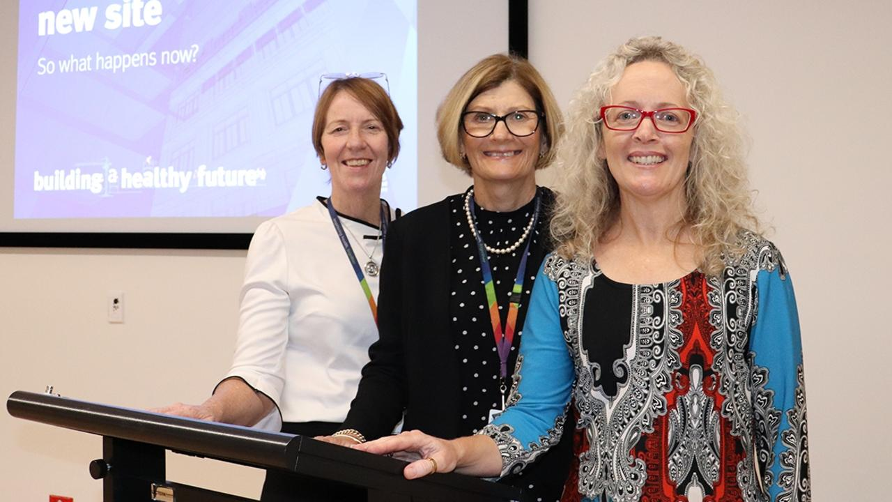 Debbie Carroll with WBHHS Executive Director of Mental Health and Specialised Services Robyn Bradley (left) and Board Chair Peta Jamieson (right) at a 2019 public information session to share the planning process for a new hospital in Bundaberg with the community.