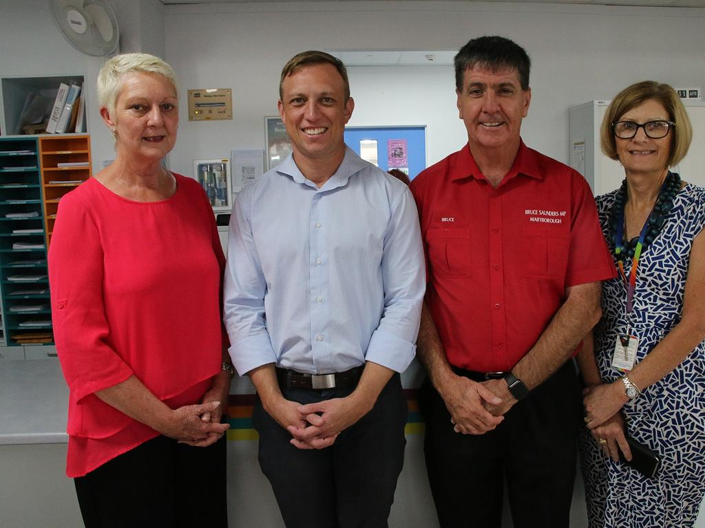Debbie Carroll pictured with Deputy Premier and Health Minister Steven Miles, Member for Maryborough Bruce Saunders, and former Ward 3 Nurse Unit Manager Kym Pointon, during a visit to Maryborough Hospital in 2018.